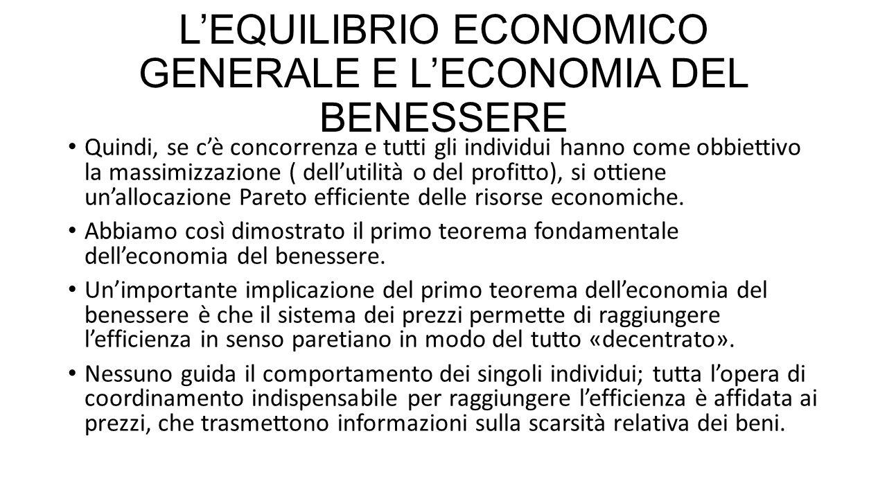 L'EQUILIBRIO ECONOMICO GENERALE E L'ECONOMIA DEL BENESSERE La teoria del «second best» implica che è necessario studiare ogni mercato nel sistema economico per valutare le implicazioni sull'efficienza di un divario tra il prezzo e il costo marginale in ogni mercato.