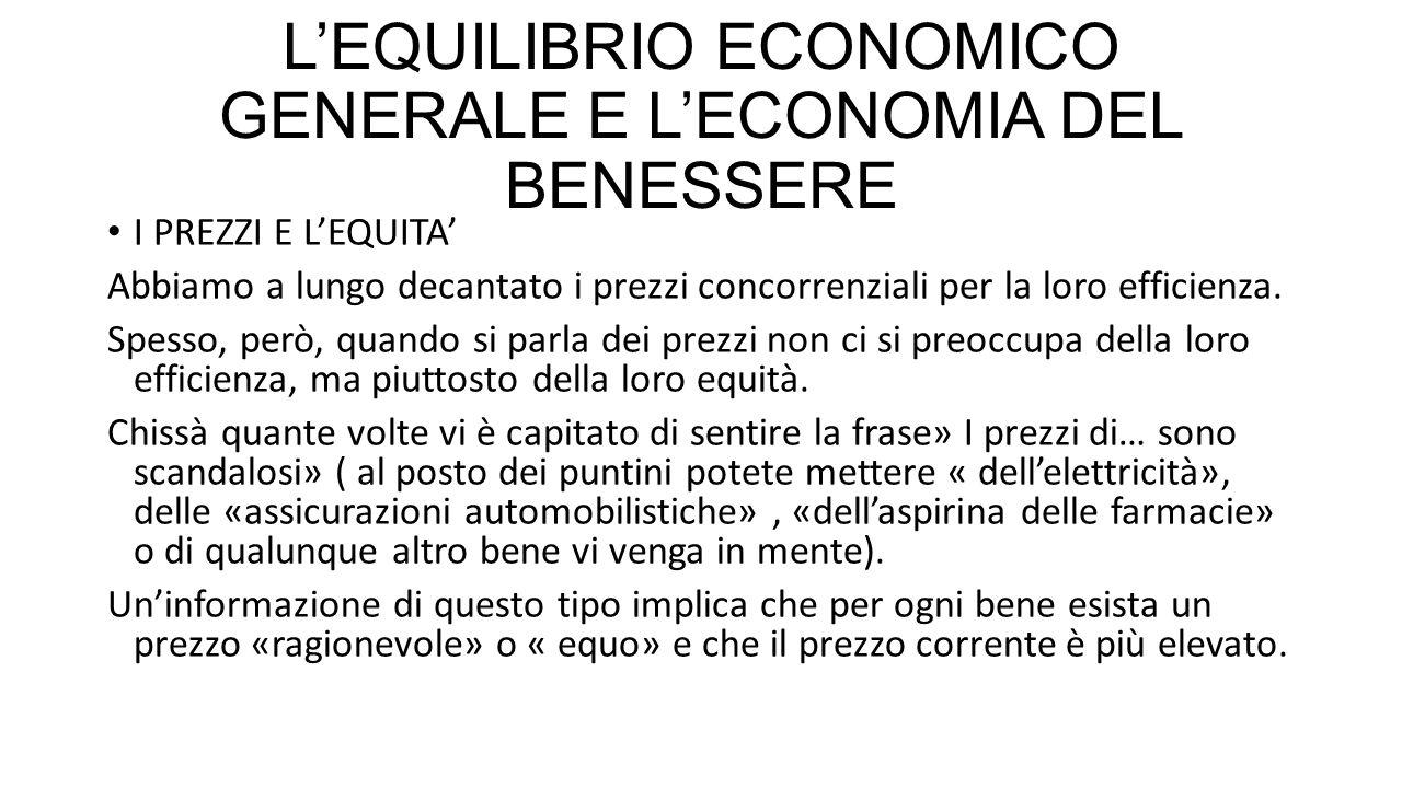 L'EQUILIBRIO ECONOMICO GENERALE E L'ECONOMIA DEL BENESSERE I PREZZI E L'EQUITA' Abbiamo a lungo decantato i prezzi concorrenziali per la loro efficien