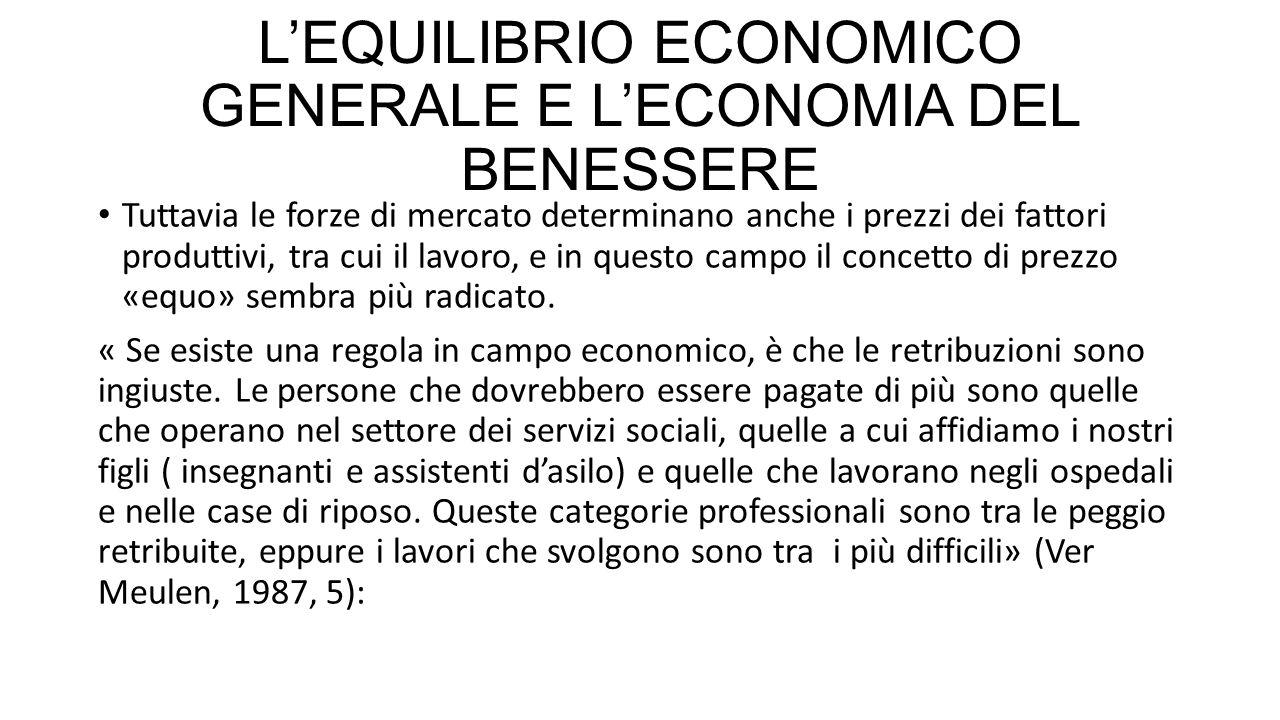 L'EQUILIBRIO ECONOMICO GENERALE E L'ECONOMIA DEL BENESSERE Tuttavia le forze di mercato determinano anche i prezzi dei fattori produttivi, tra cui il