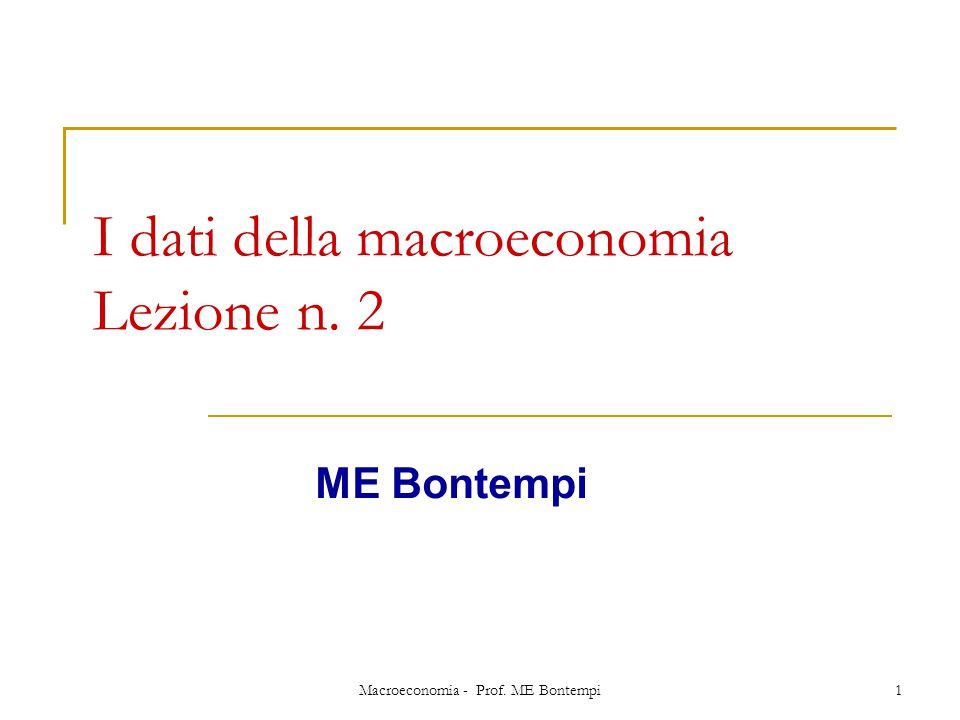 Macroeconomia - Prof. ME Bontempi1 I dati della macroeconomia Lezione n. 2 ME Bontempi