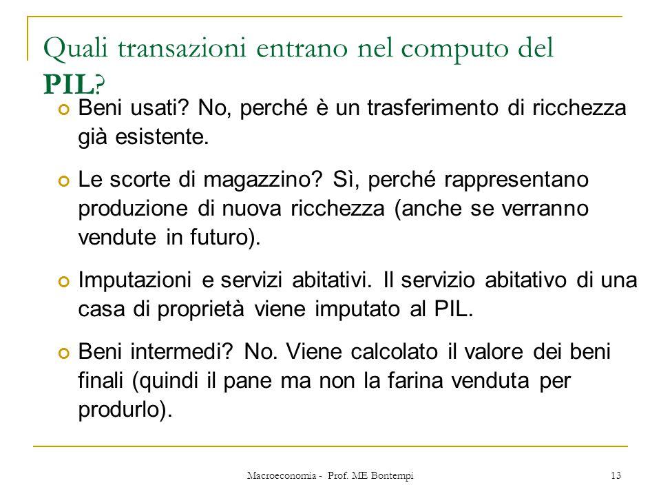 Macroeconomia - Prof. ME Bontempi 13 Quali transazioni entrano nel computo del PIL? Beni usati? No, perché è un trasferimento di ricchezza già esisten