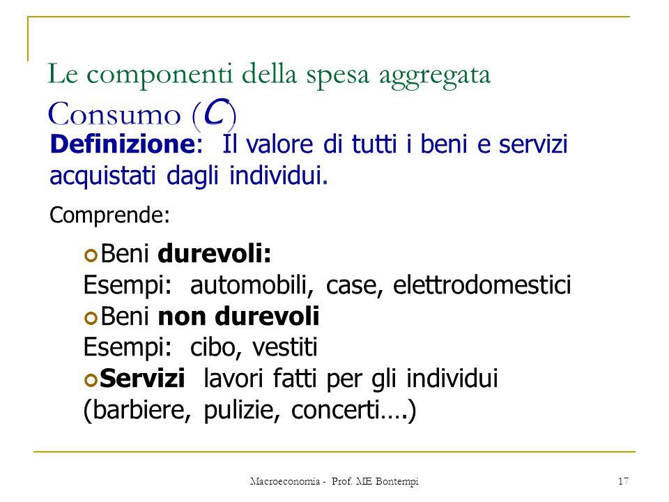 Macroeconomia - Prof. ME Bontempi 17 Le componenti della spesa aggregata Consumo ( C ) Definizione: Il valore di tutti i beni e servizi acquistati dag