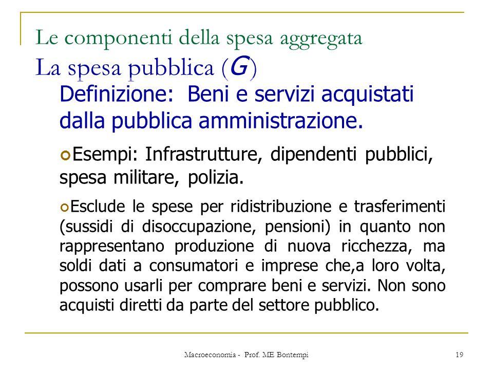 Macroeconomia - Prof. ME Bontempi 19 Le componenti della spesa aggregata La spesa pubblica ( G ) Definizione: Beni e servizi acquistati dalla pubblica