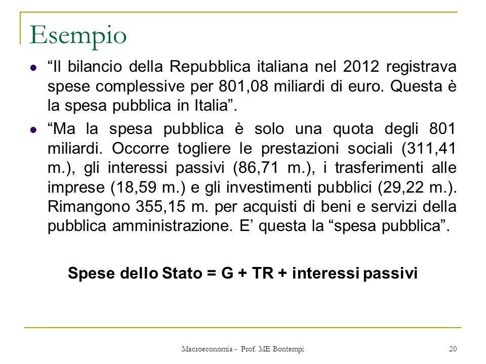 """Esempio """"Il bilancio della Repubblica italiana nel 2012 registrava spese complessive per 801,08 miliardi di euro. Questa è la spesa pubblica in Italia"""
