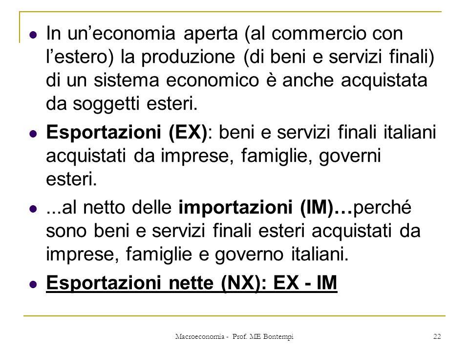 In un'economia aperta (al commercio con l'estero) la produzione (di beni e servizi finali) di un sistema economico è anche acquistata da soggetti este