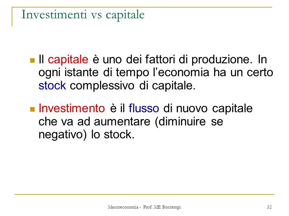 Macroeconomia - Prof. ME Bontempi 32 Investimenti vs capitale Il capitale è uno dei fattori di produzione. In ogni istante di tempo l'economia ha un c
