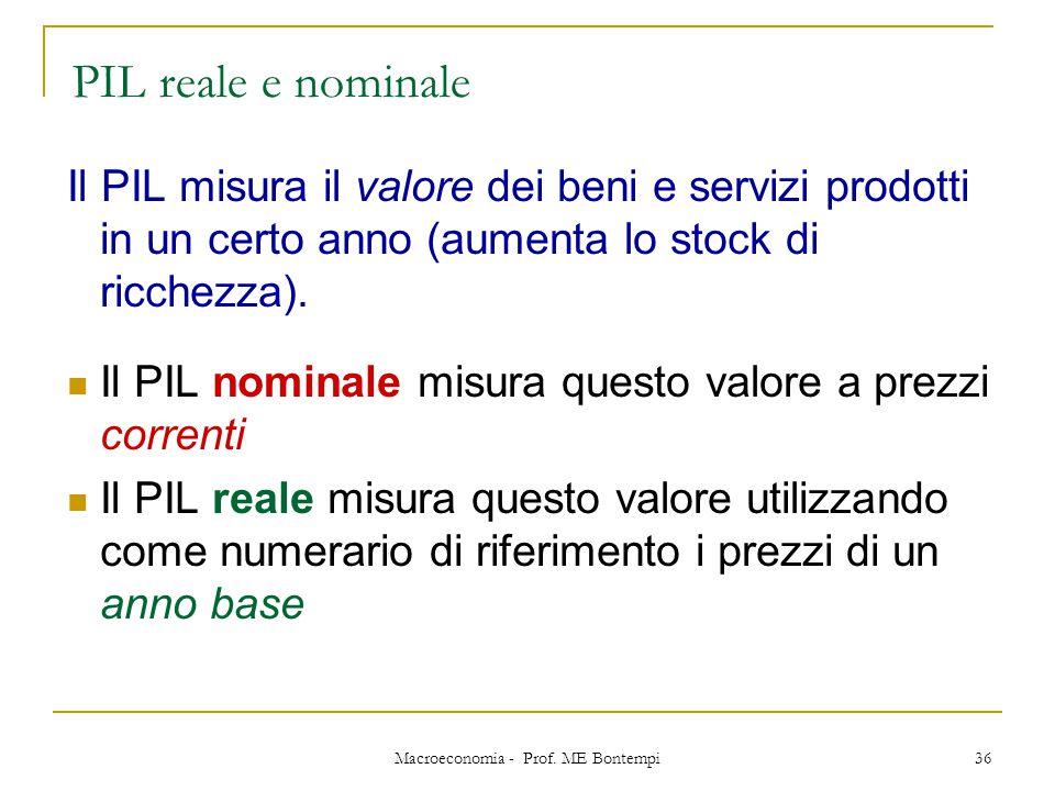 Macroeconomia - Prof. ME Bontempi 36 Il PIL misura il valore dei beni e servizi prodotti in un certo anno (aumenta lo stock di ricchezza). Il PIL nomi