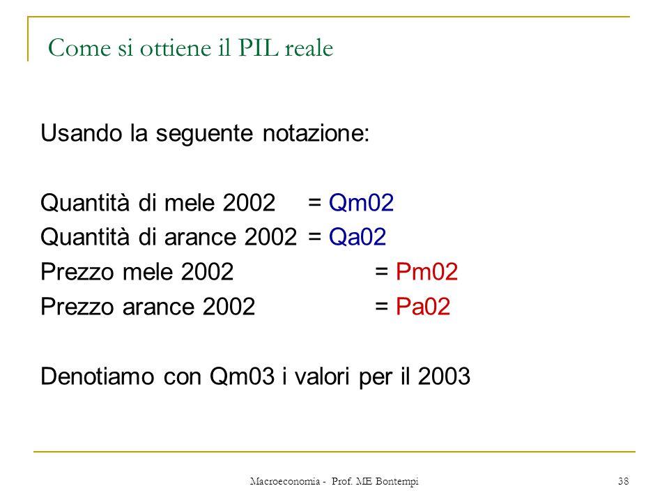 Macroeconomia - Prof. ME Bontempi 38 Usando la seguente notazione: Quantità di mele 2002 = Qm02 Quantità di arance 2002= Qa02 Prezzo mele 2002 = Pm02