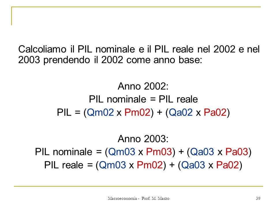 Macroeconomia - Prof. M. Marzo 39 Calcoliamo il PIL nominale e il PIL reale nel 2002 e nel 2003 prendendo il 2002 come anno base: Anno 2002: PIL nomin
