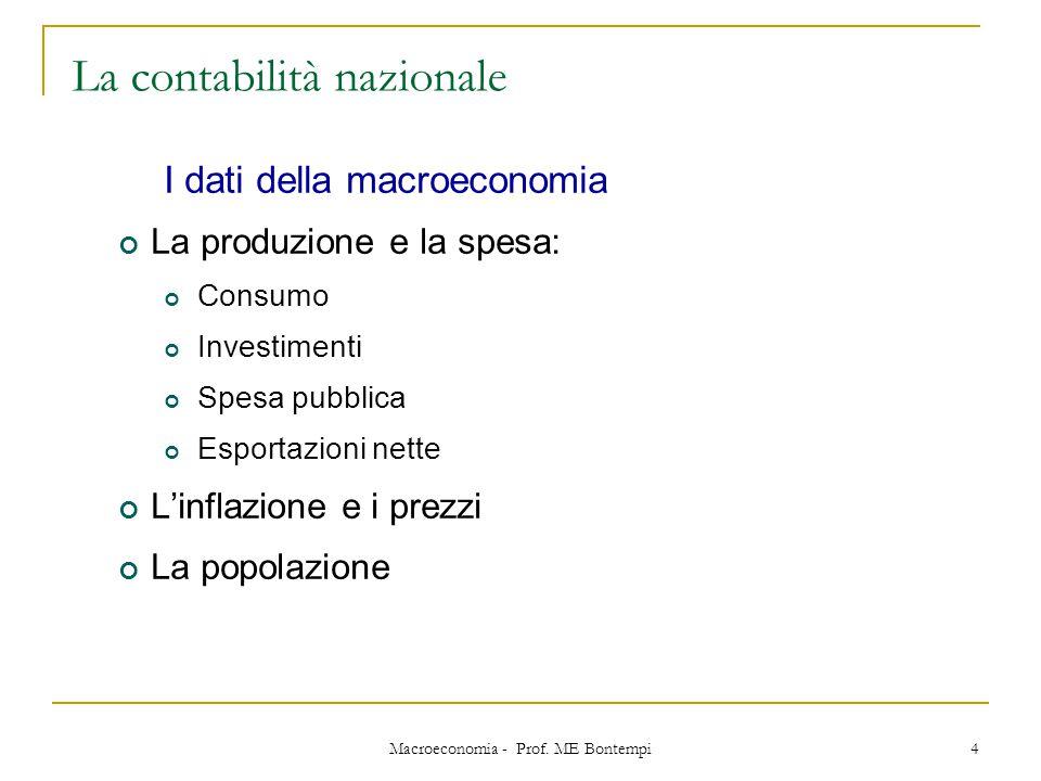 Macroeconomia - Prof. ME Bontempi 4 La contabilità nazionale I dati della macroeconomia La produzione e la spesa: Consumo Investimenti Spesa pubblica