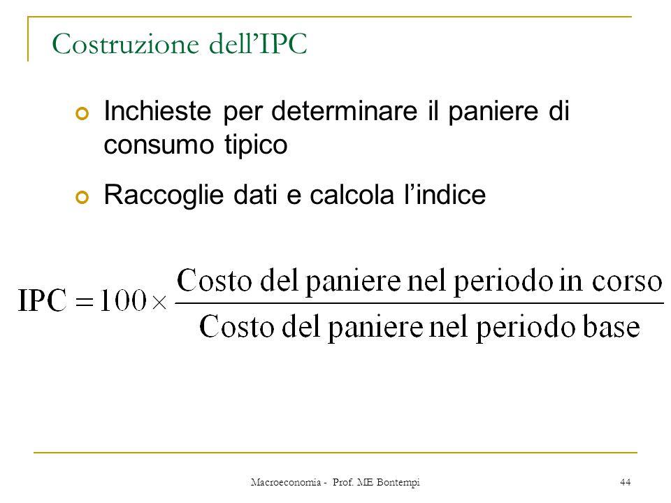 Macroeconomia - Prof. ME Bontempi 44 Costruzione dell'IPC Inchieste per determinare il paniere di consumo tipico Raccoglie dati e calcola l'indice