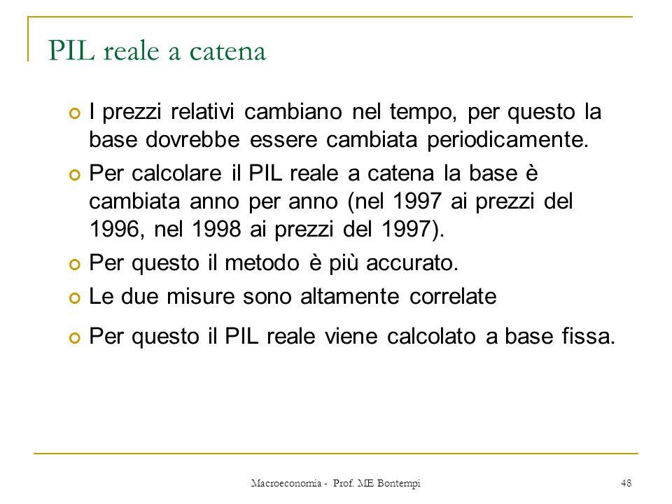 Macroeconomia - Prof. ME Bontempi 48 PIL reale a catena I prezzi relativi cambiano nel tempo, per questo la base dovrebbe essere cambiata periodicamen