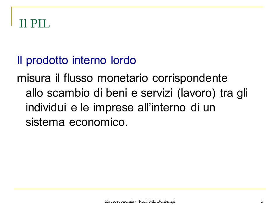 Macroeconomia - Prof. ME Bontempi 5 Il PIL Il prodotto interno lordo misura il flusso monetario corrispondente allo scambio di beni e servizi (lavoro)