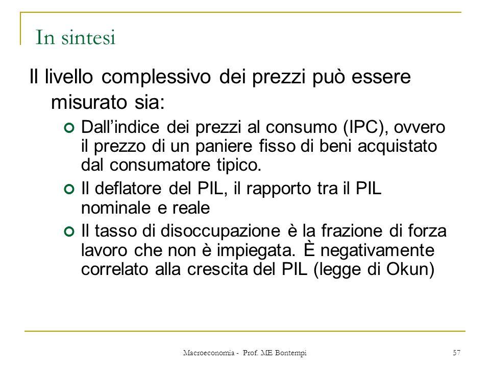 Macroeconomia - Prof. ME Bontempi 57 Il livello complessivo dei prezzi può essere misurato sia: Dall'indice dei prezzi al consumo (IPC), ovvero il pre