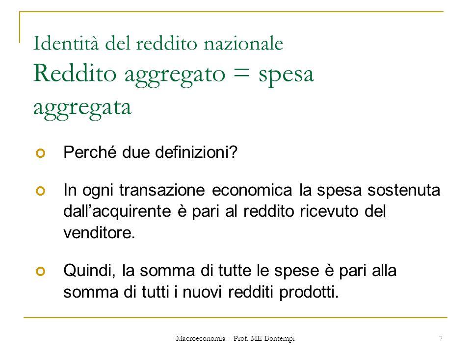 Macroeconomia - Prof. ME Bontempi 7 Identità del reddito nazionale Reddito aggregato = spesa aggregata Perché due definizioni? In ogni transazione eco
