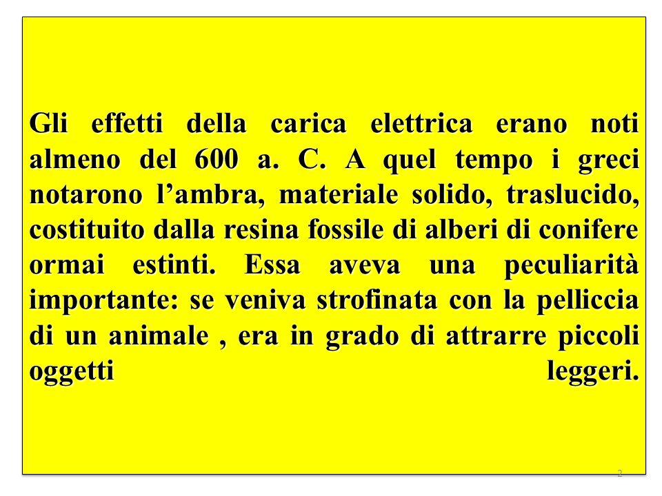 Gli effetti della carica elettrica erano noti almeno del 600 a.