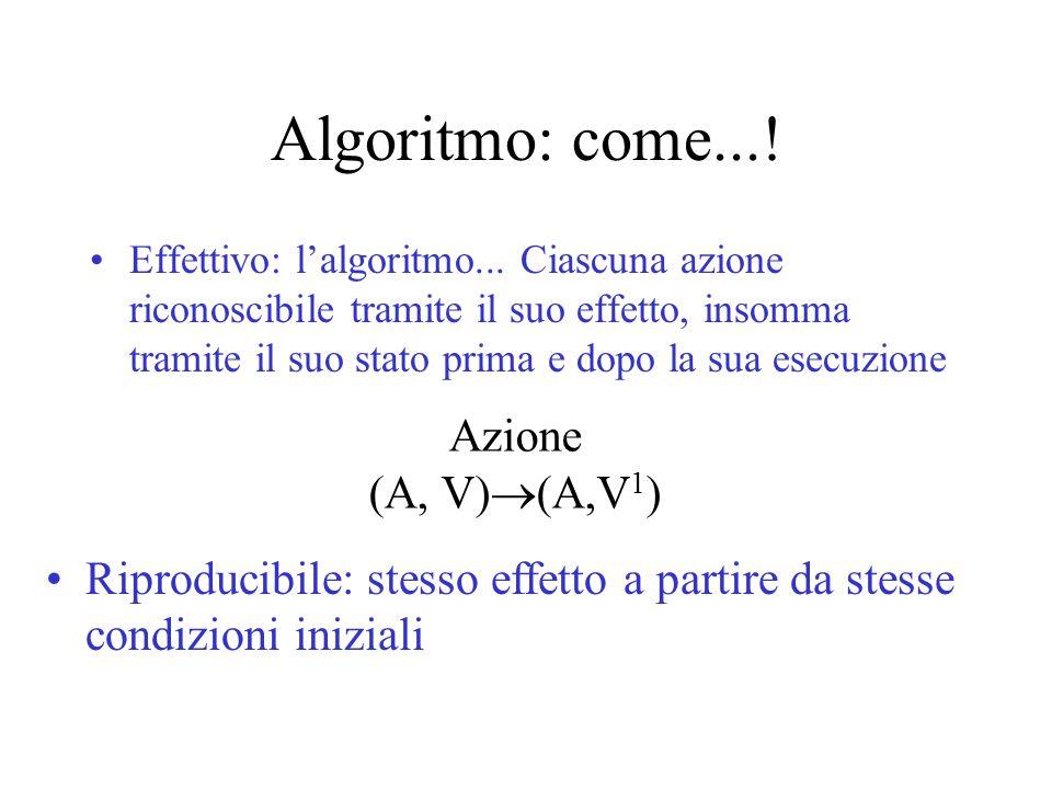 Algoritmo: come...! Effettivo: l'algoritmo... Ciascuna azione riconoscibile tramite il suo effetto, insomma tramite il suo stato prima e dopo la sua e