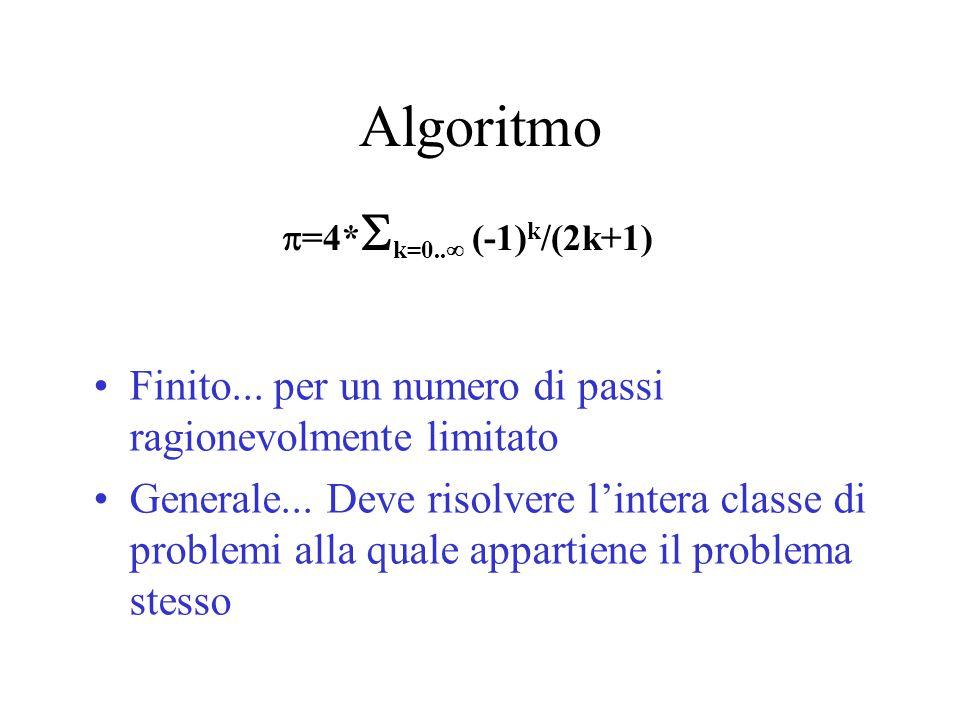 Algoritmo Finito... per un numero di passi ragionevolmente limitato Generale... Deve risolvere l'intera classe di problemi alla quale appartiene il pr