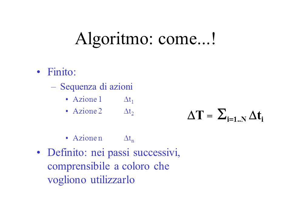 Algoritmo: come...! Finito: –Sequenza di azioni Azione 1  t 1 Azione 2  t 2 Azione n  t n Definito: nei passi successivi, comprensibile a coloro ch