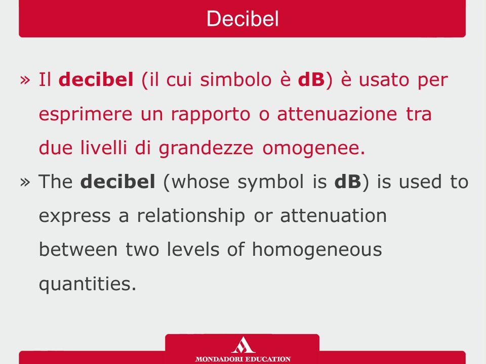 »Il decibel (il cui simbolo è dB) è usato per esprimere un rapporto o attenuazione tra due livelli di grandezze omogenee.