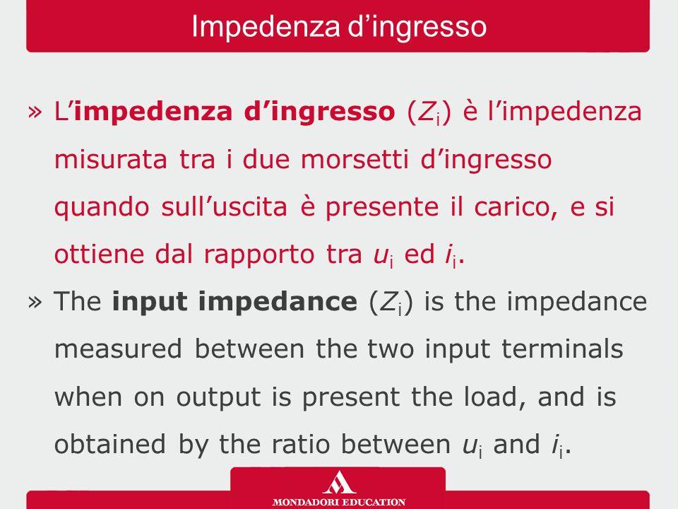 »L'impedenza d'ingresso (Z i ) è l'impedenza misurata tra i due morsetti d'ingresso quando sull'uscita è presente il carico, e si ottiene dal rapporto tra u i ed i i.