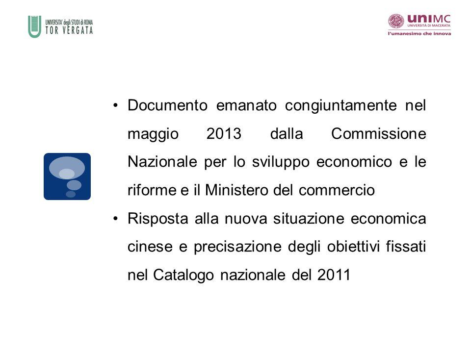 Documento emanato congiuntamente nel maggio 2013 dalla Commissione Nazionale per lo sviluppo economico e le riforme e il Ministero del commercio Risposta alla nuova situazione economica cinese e precisazione degli obiettivi fissati nel Catalogo nazionale del 2011
