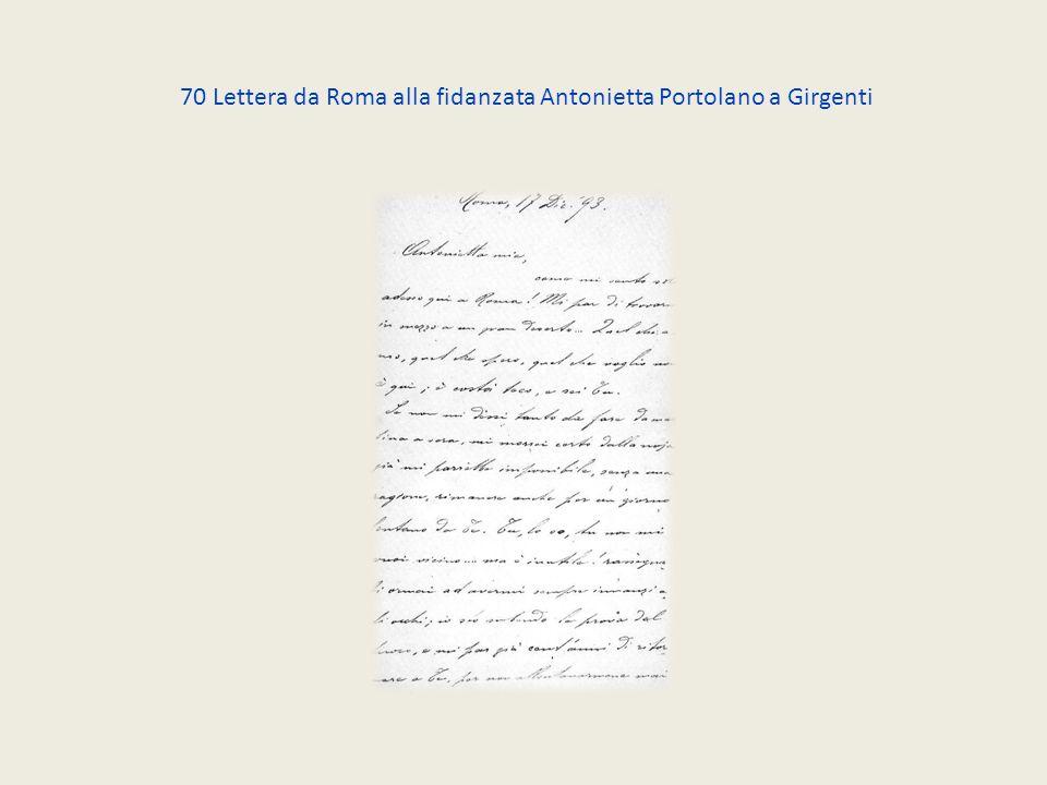 70 Lettera da Roma alla fidanzata Antonietta Portolano a Girgenti