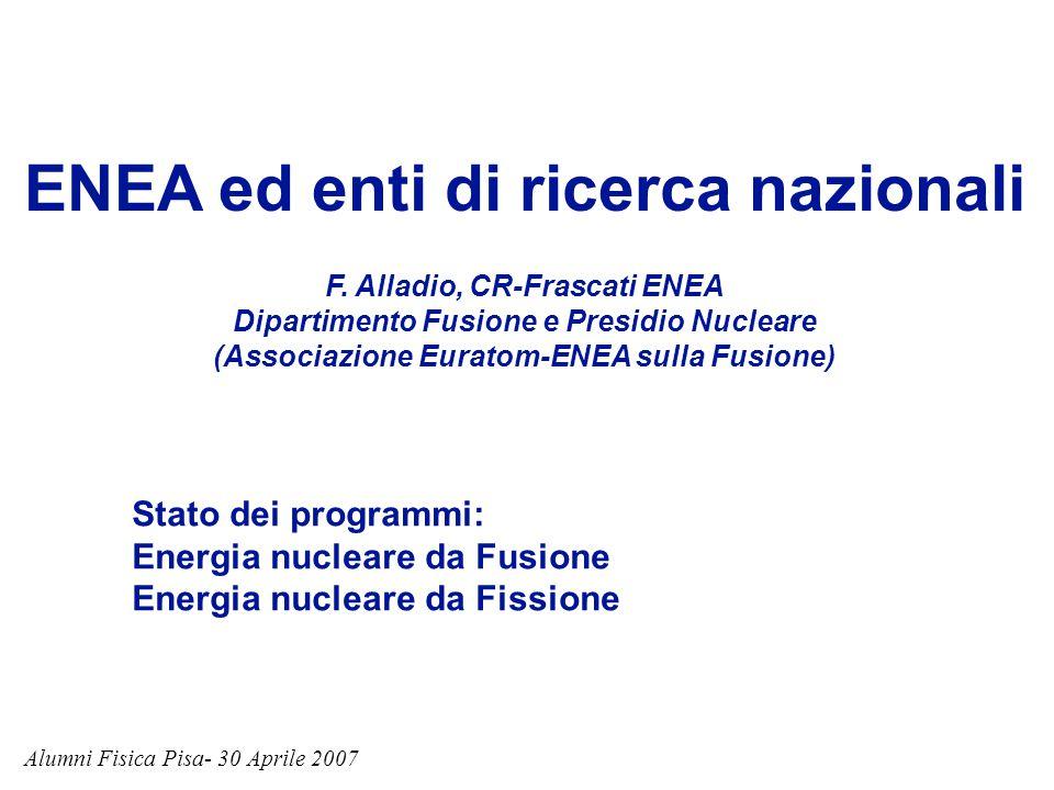 ENEA ed enti di ricerca nazionali F. Alladio, CR-Frascati ENEA Dipartimento Fusione e Presidio Nucleare (Associazione Euratom-ENEA sulla Fusione) Alum
