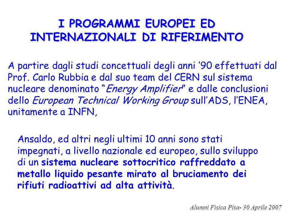 I PROGRAMMI EUROPEI ED INTERNAZIONALI DI RIFERIMENTO A partire dagli studi concettuali degli anni '90 effettuati dal Prof. Carlo Rubbia e dal suo team