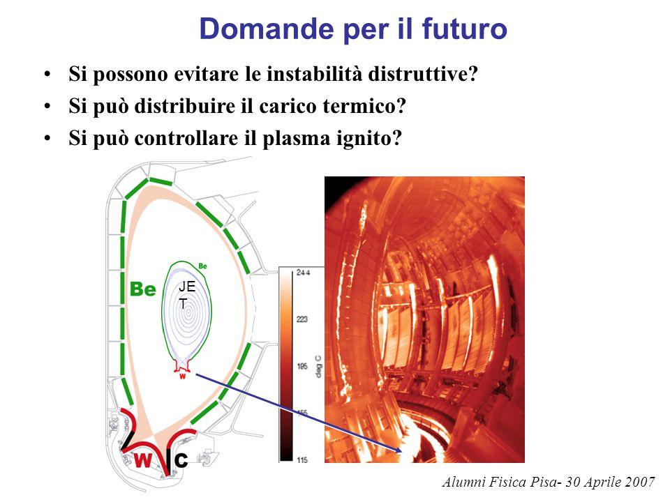 Domande per il futuro Si possono evitare le instabilità distruttive? Si può distribuire il carico termico? Si può controllare il plasma ignito? JE T A
