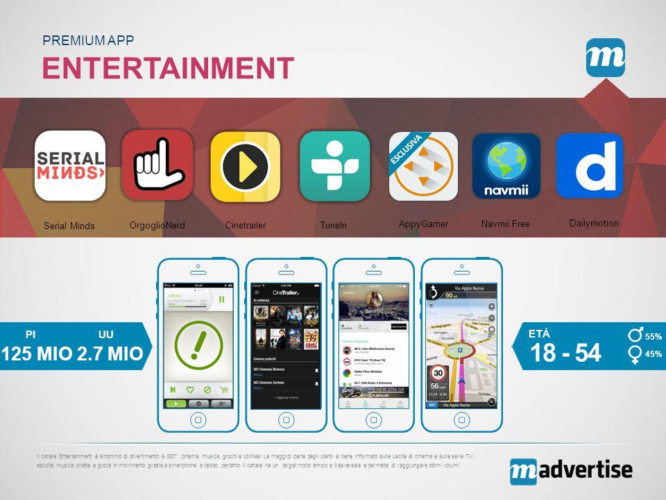 ENTERTAINMENT PREMIUM APP Il canale Entertainment è sinonimo di divertimento a 360°: cinema, musica, giochi e utilities.
