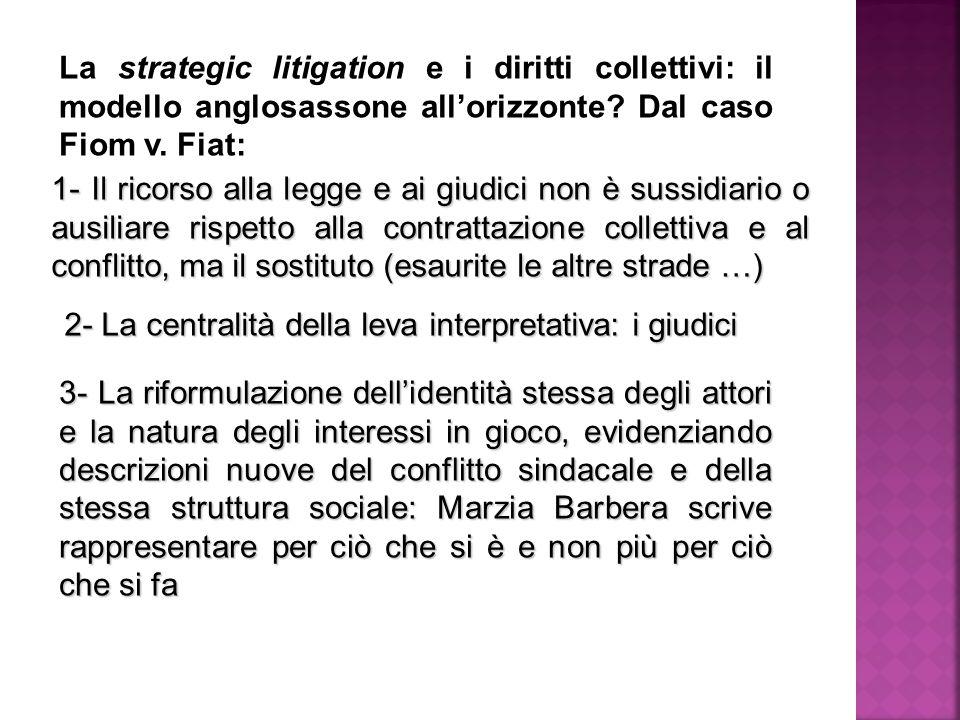 La strategic litigation e i diritti collettivi: il modello anglosassone all'orizzonte.