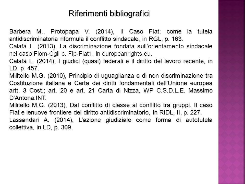 Riferimenti bibliografici Barbera M., Protopapa V.