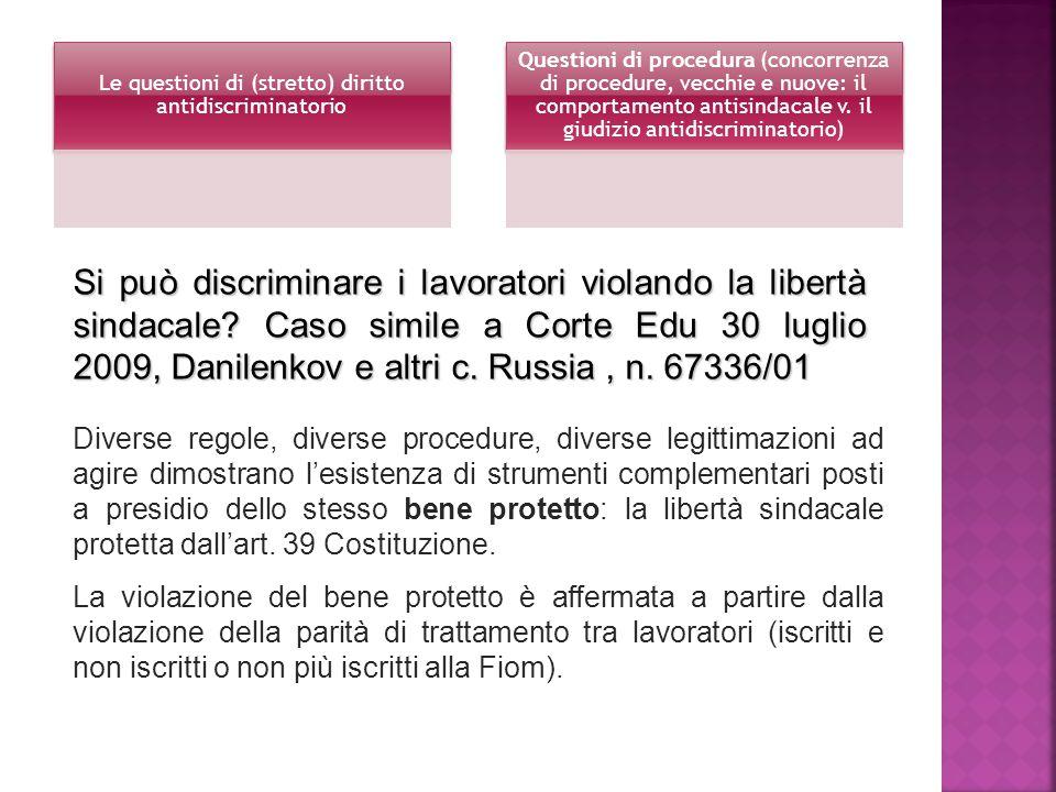 Le questioni di (stretto) diritto antidiscriminatorio Questioni di procedura (concorrenza di procedure, vecchie e nuove: il comportamento antisindacale v.