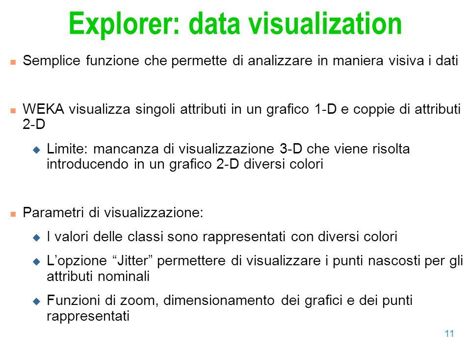 11 Explorer: data visualization Semplice funzione che permette di analizzare in maniera visiva i dati WEKA visualizza singoli attributi in un grafico 1-D e coppie di attributi 2-D  Limite: mancanza di visualizzazione 3-D che viene risolta introducendo in un grafico 2-D diversi colori Parametri di visualizzazione:  I valori delle classi sono rappresentati con diversi colori  L'opzione Jitter permettere di visualizzare i punti nascosti per gli attributi nominali  Funzioni di zoom, dimensionamento dei grafici e dei punti rappresentati