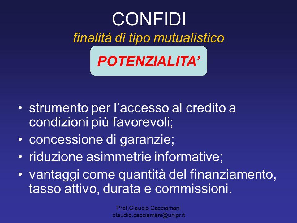 Prof.Claudio Cacciamani claudio.cacciamani@unipr.it CONFIDI finalità di tipo mutualistico strumento per l'accesso al credito a condizioni più favorevo