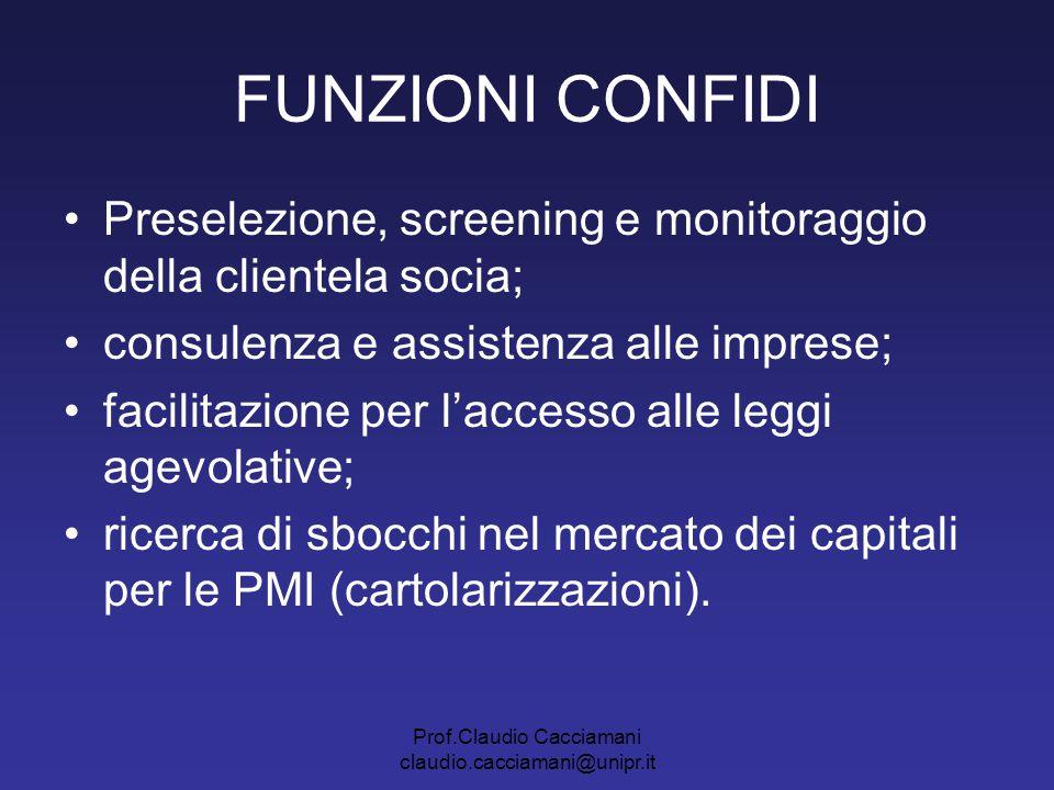 Prof.Claudio Cacciamani claudio.cacciamani@unipr.it FUNZIONI CONFIDI Preselezione, screening e monitoraggio della clientela socia; consulenza e assist