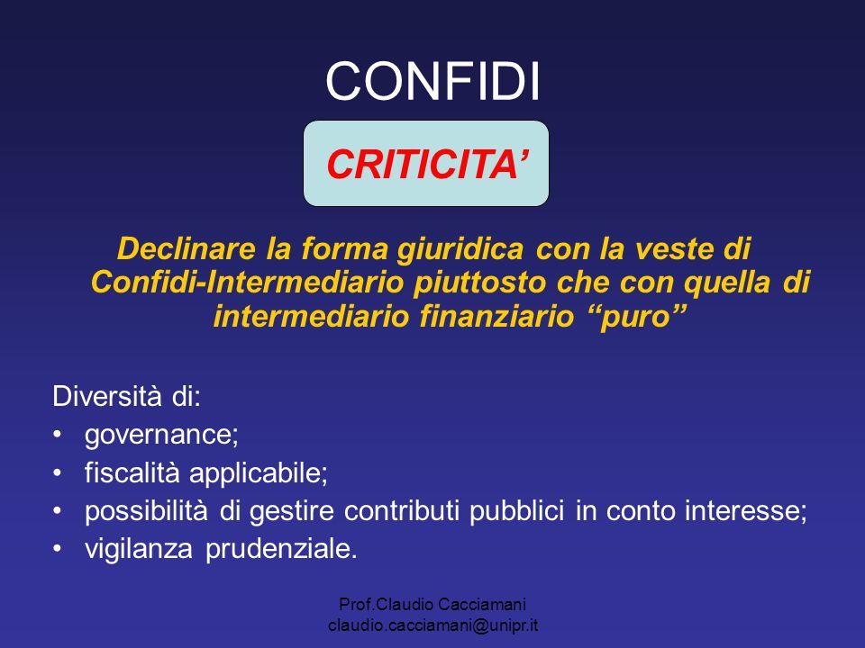 Prof.Claudio Cacciamani claudio.cacciamani@unipr.it CONFIDI Declinare la forma giuridica con la veste di Confidi-Intermediario piuttosto che con quell