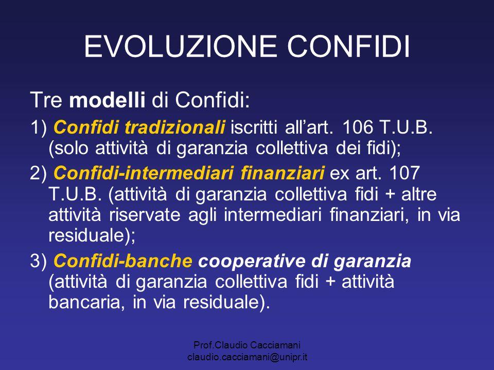 Prof.Claudio Cacciamani claudio.cacciamani@unipr.it EVOLUZIONE CONFIDI Tre modelli di Confidi: 1) Confidi tradizionali iscritti all'art. 106 T.U.B. (s