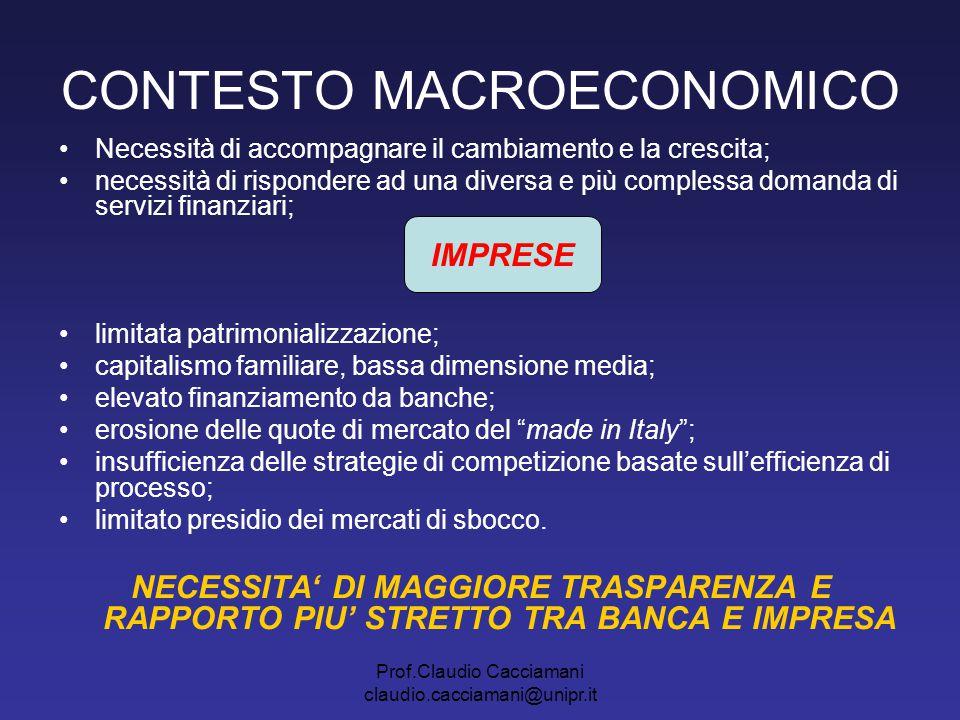 Prof.Claudio Cacciamani claudio.cacciamani@unipr.it CONTESTO MACROECONOMICO Necessità di accompagnare il cambiamento e la crescita; necessità di rispo