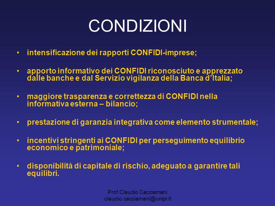 Prof.Claudio Cacciamani claudio.cacciamani@unipr.it CONDIZIONI intensificazione dei rapporti CONFIDI-imprese; apporto informativo dei CONFIDI riconosc