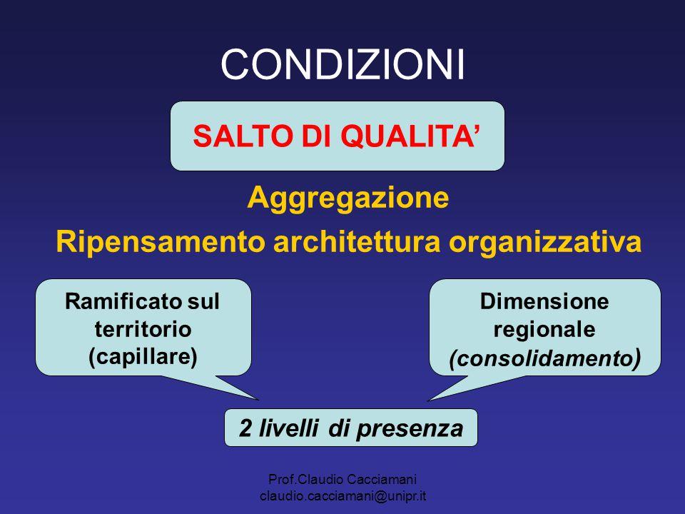 Prof.Claudio Cacciamani claudio.cacciamani@unipr.it CONDIZIONI Aggregazione Ripensamento architettura organizzativa SALTO DI QUALITA' Ramificato sul t