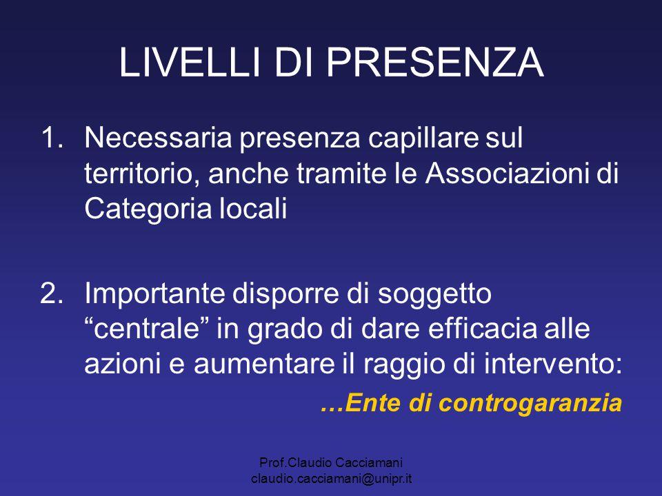 Prof.Claudio Cacciamani claudio.cacciamani@unipr.it LIVELLI DI PRESENZA 1.Necessaria presenza capillare sul territorio, anche tramite le Associazioni