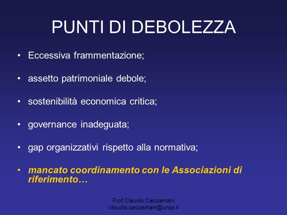 Prof.Claudio Cacciamani claudio.cacciamani@unipr.it PUNTI DI DEBOLEZZA Eccessiva frammentazione; assetto patrimoniale debole; sostenibilità economica