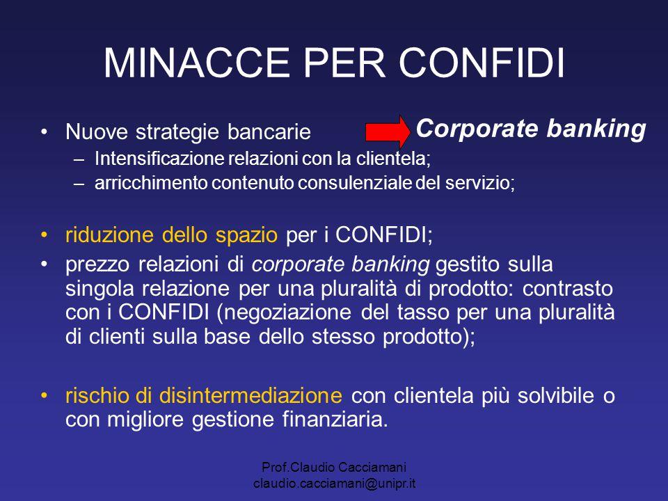 Prof.Claudio Cacciamani claudio.cacciamani@unipr.it MINACCE PER CONFIDI Nuove strategie bancarie –Intensificazione relazioni con la clientela; –arricc