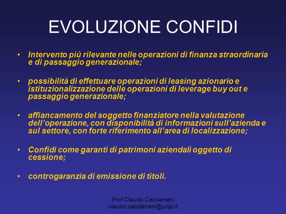 Prof.Claudio Cacciamani claudio.cacciamani@unipr.it EVOLUZIONE CONFIDI Intervento più rilevante nelle operazioni di finanza straordinaria e di passagg