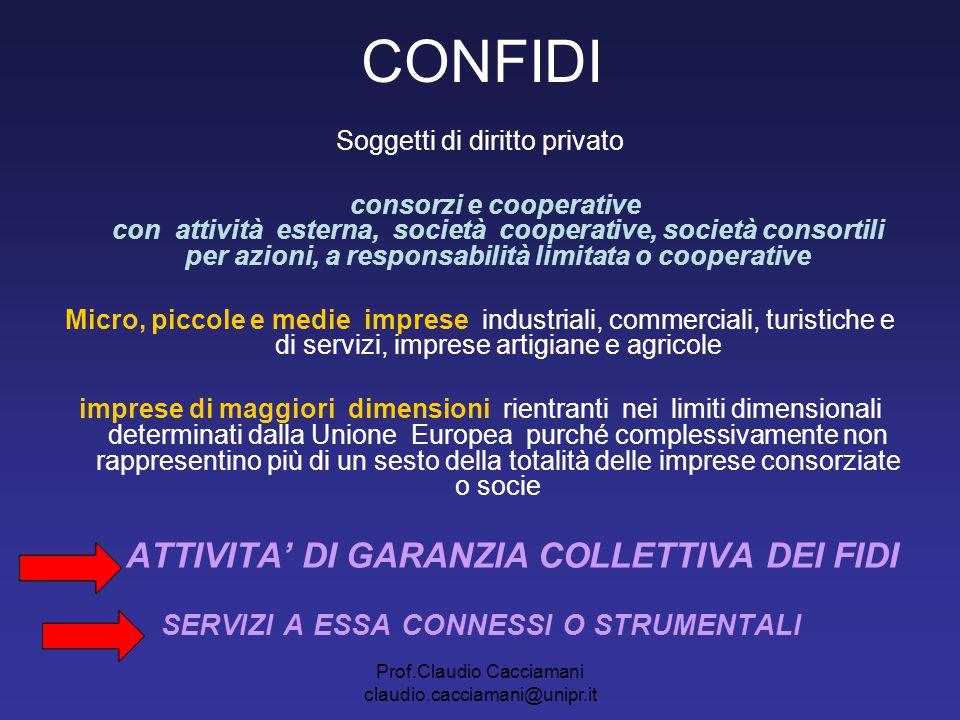 Prof.Claudio Cacciamani claudio.cacciamani@unipr.it CONFIDI Soggetti di diritto privato consorzi e cooperative con attività esterna, società cooperati