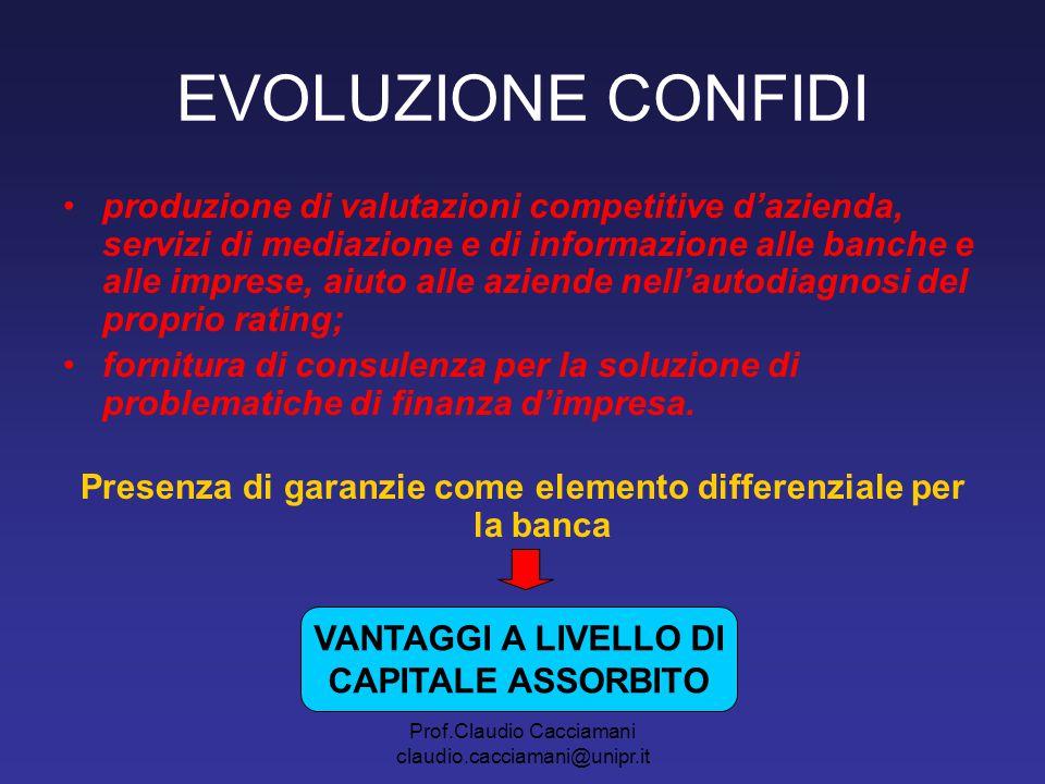 Prof.Claudio Cacciamani claudio.cacciamani@unipr.it EVOLUZIONE CONFIDI produzione di valutazioni competitive d'azienda, servizi di mediazione e di inf