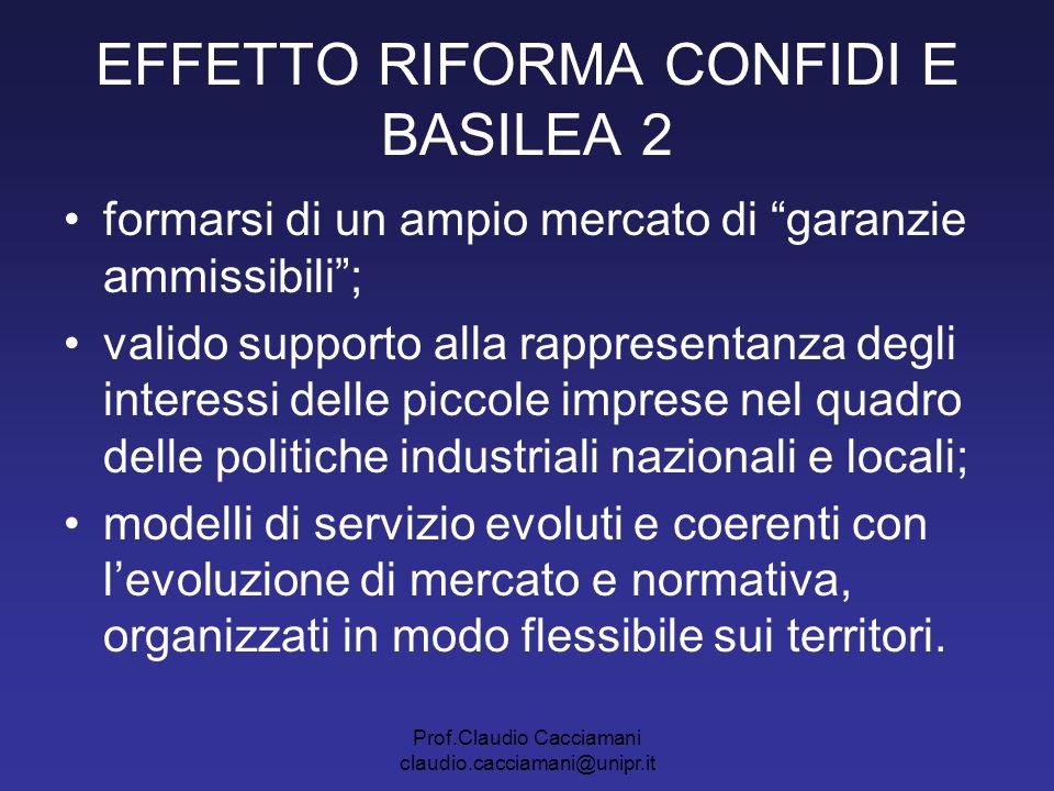 """Prof.Claudio Cacciamani claudio.cacciamani@unipr.it EFFETTO RIFORMA CONFIDI E BASILEA 2 formarsi di un ampio mercato di """"garanzie ammissibili""""; valido"""