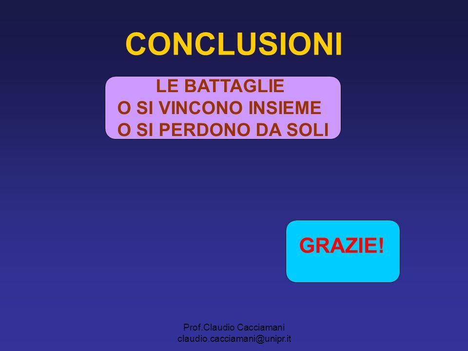 Prof.Claudio Cacciamani claudio.cacciamani@unipr.it LE BATTAGLIE O SI VINCONO INSIEME O SI PERDONO DA SOLI GRAZIE! CONCLUSIONI